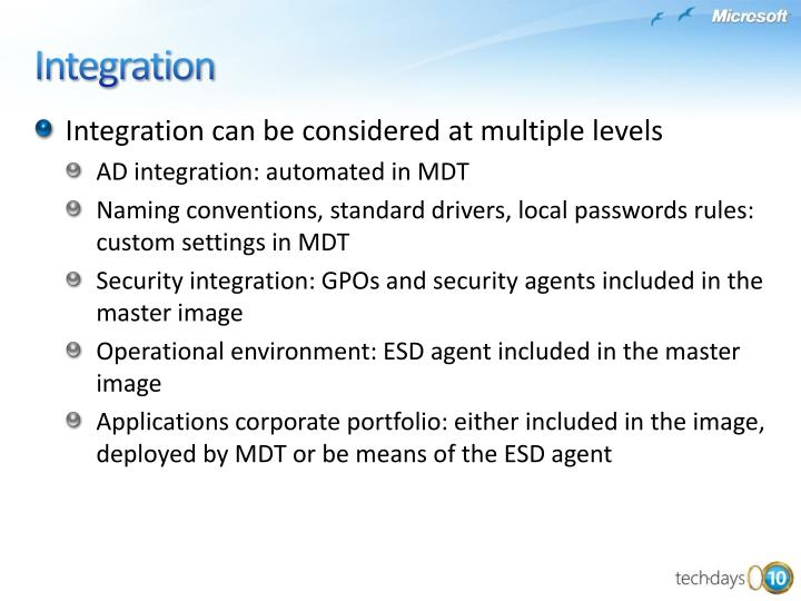 Integration can be considered at multiple levels