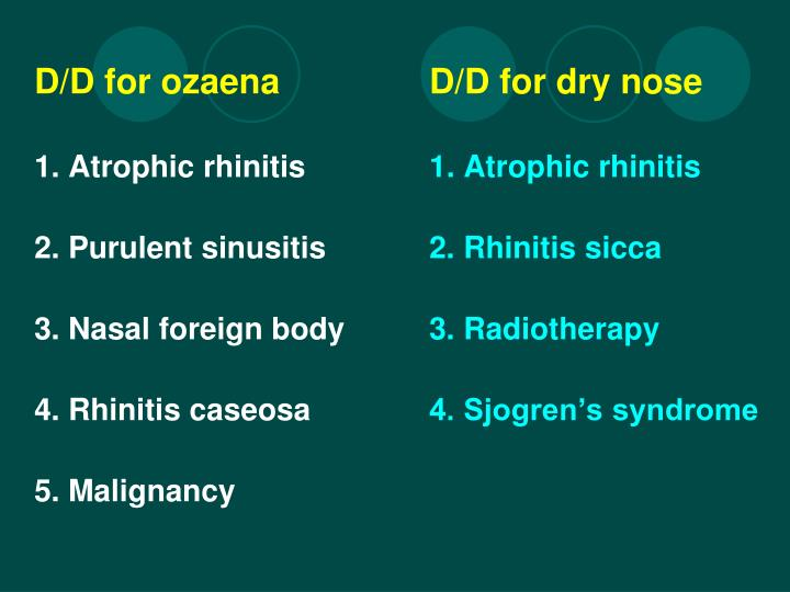 D/D for ozaenaD/D for dry nose