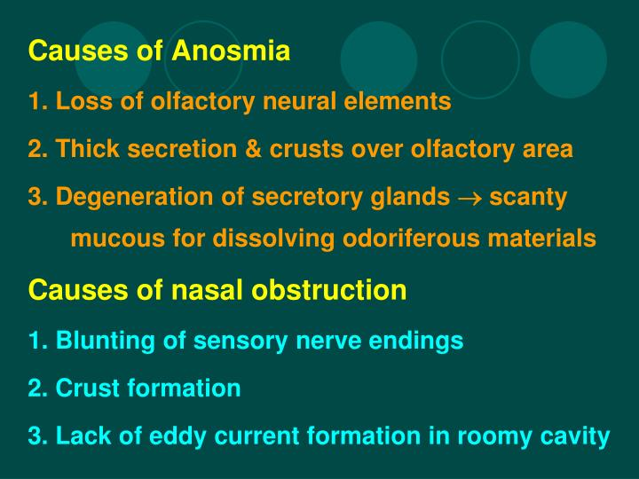 Causes of Anosmia