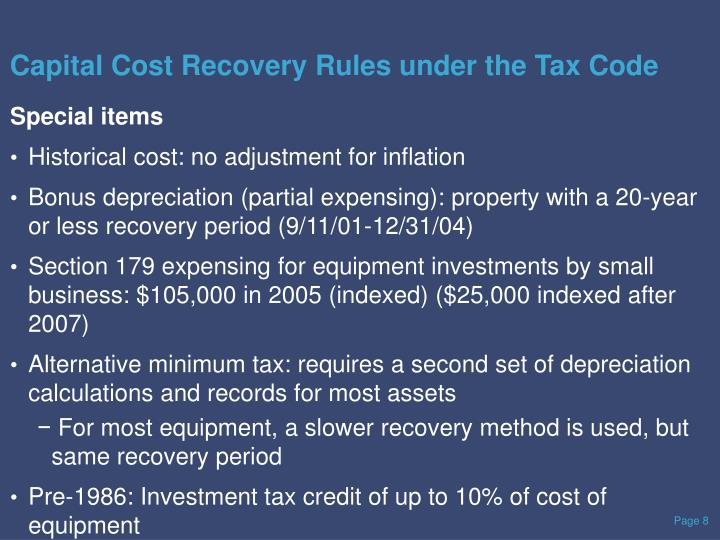 Capital Cost Recovery Rules under the Tax Code