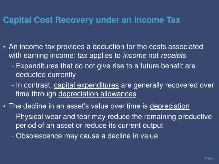 Capital Cost Recovery under an Income Tax
