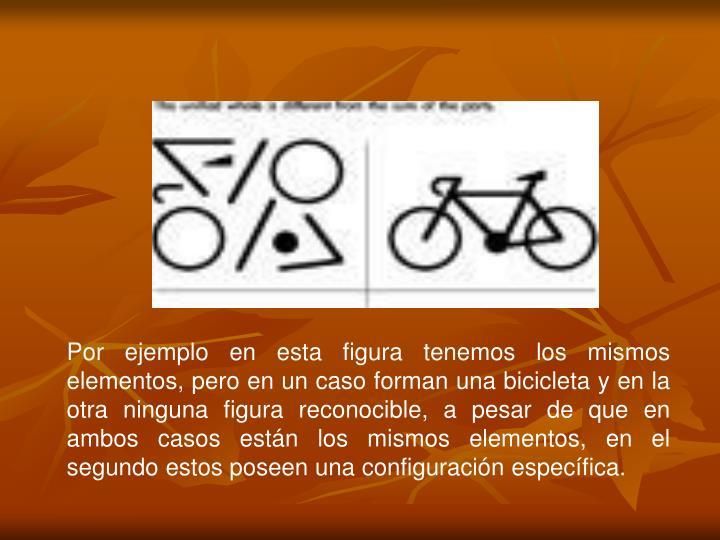 Por ejemplo en esta figura tenemos los mismos elementos, pero en un caso forman una bicicleta y en la otra ninguna figura reconocible, a pesar de que en ambos casos están los mismos elementos, en el segundo estos poseen una configuración específica.