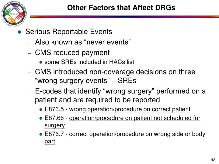 Other Factors that Affect DRGs