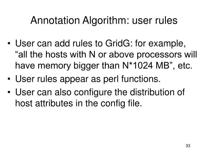 Annotation Algorithm: user rules