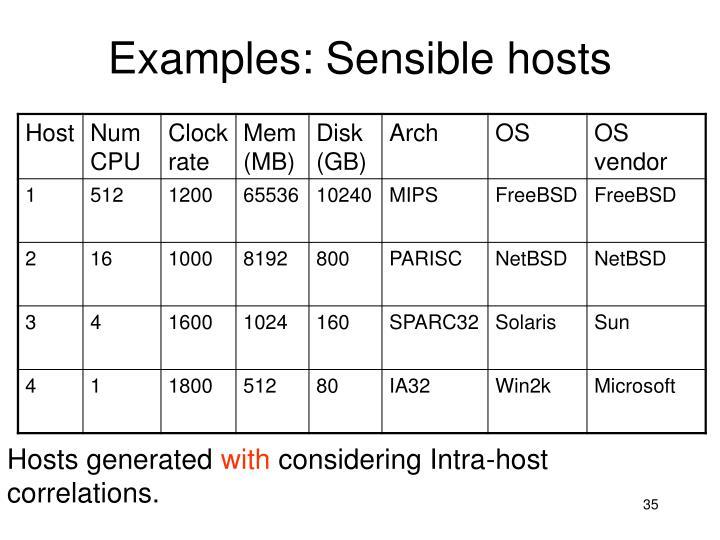 Examples: Sensible hosts