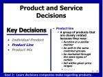product and service decisions1