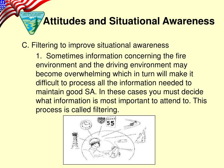 C. Filtering to improve situational awareness