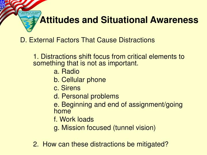 D. External Factors That Cause Distractions