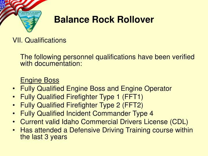 VII. Qualifications