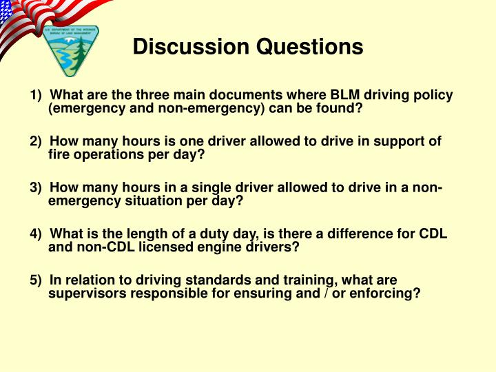1)  What are the three main documents where BLM driving policy (emergency and non-emergency) can be found?