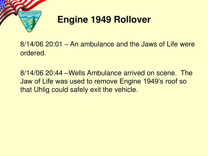 8/14/06 20:01 – An ambulance and the Jaws of Life were ordered.