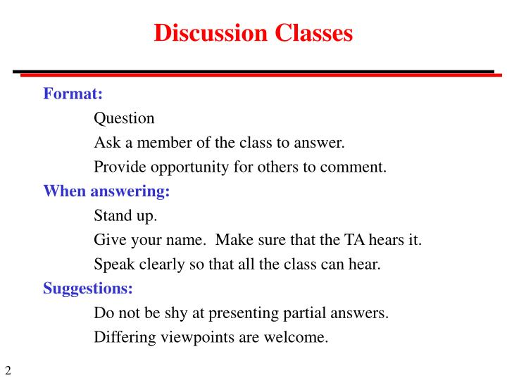 Discussion Classes
