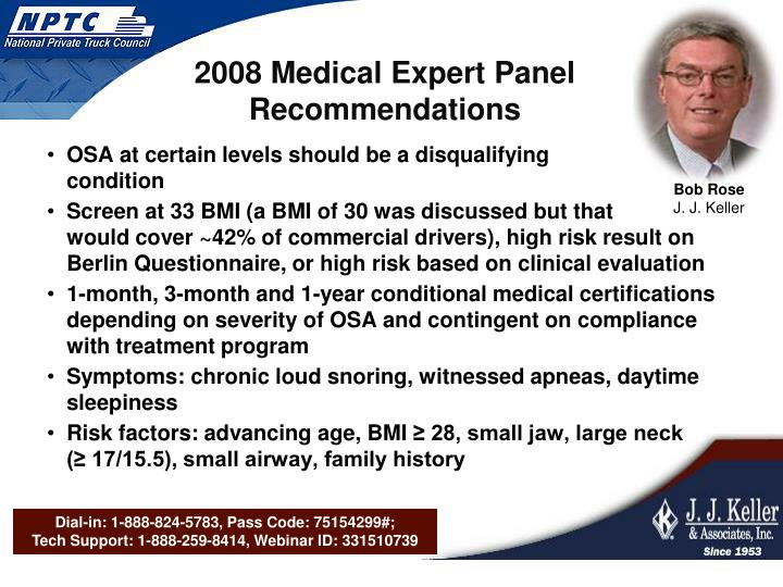 2008 Medical Expert Panel Recommendations