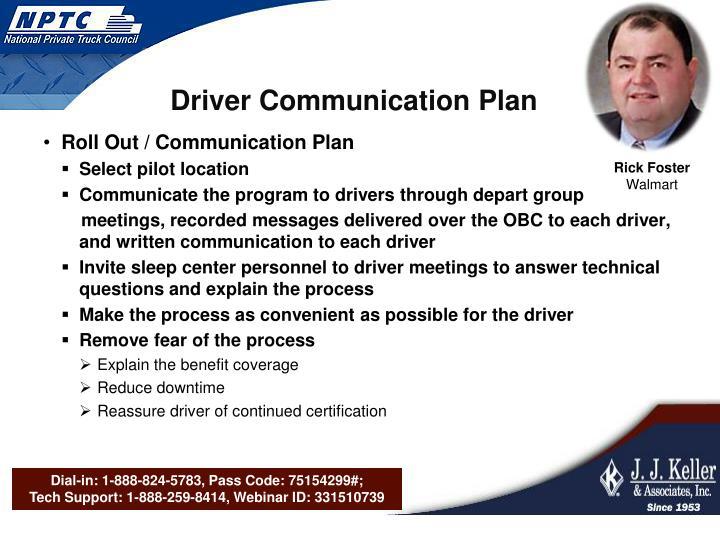 Driver Communication Plan