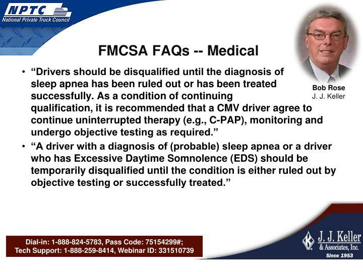 FMCSA FAQs -- Medical