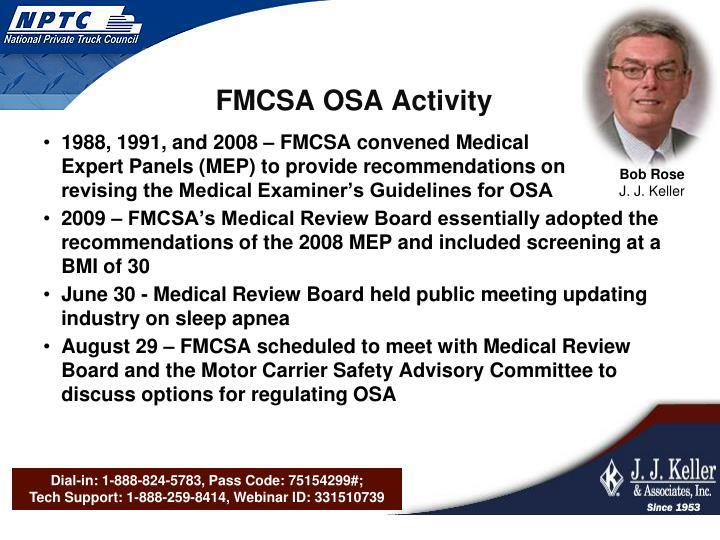 FMCSA OSA Activity