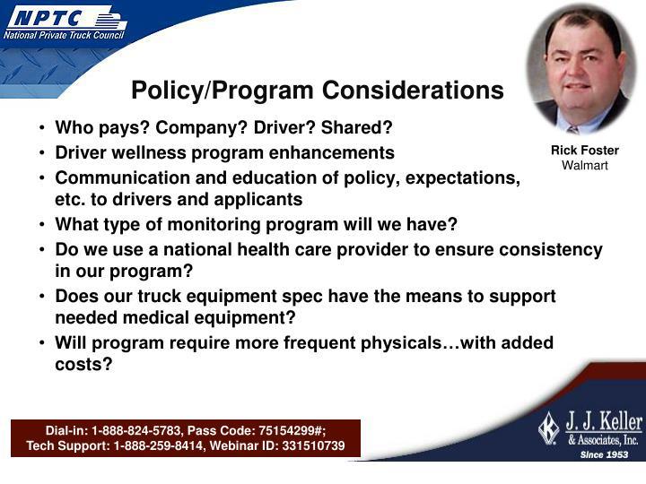 Policy/Program Considerations