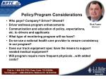 policy program considerations