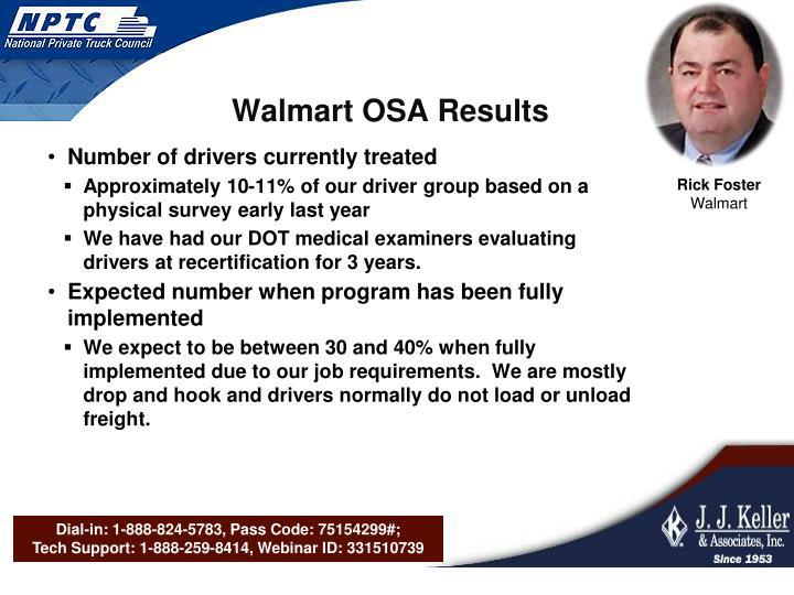 Walmart OSA Results