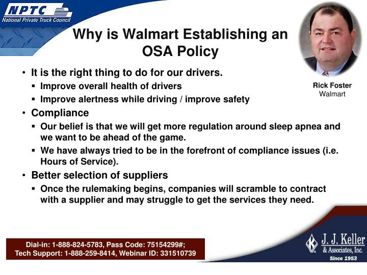 Why is Walmart Establishing an OSA Policy