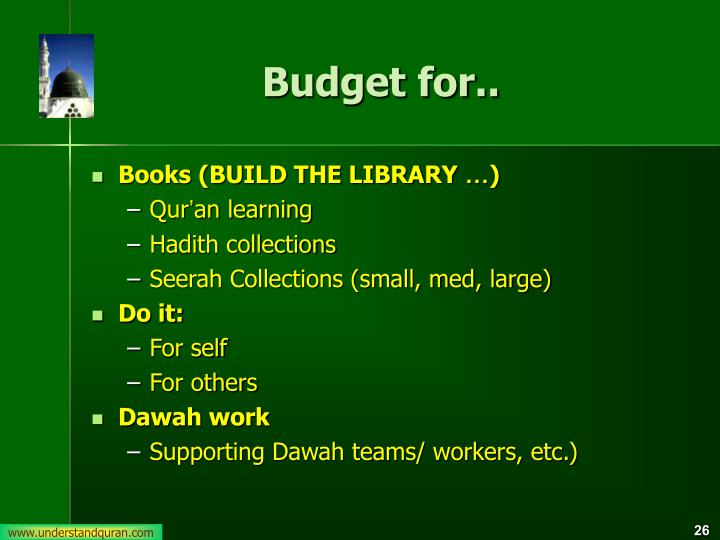 Budget for..