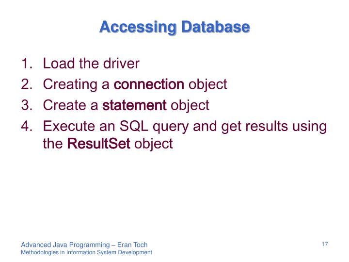 Accessing Database