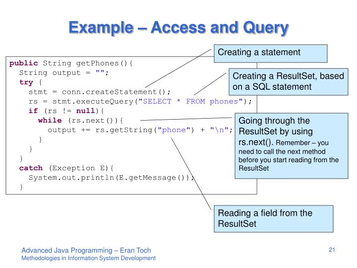 Example – Access and Query