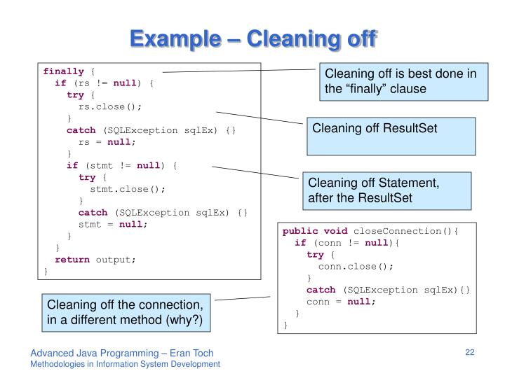 Example – Cleaning off