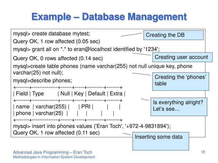 Example – Database Management