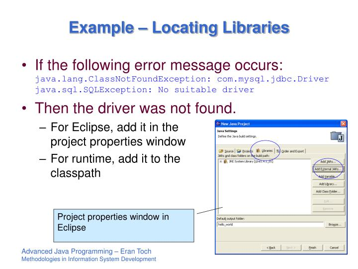 Example – Locating Libraries