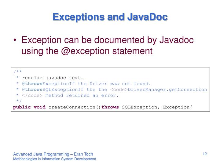 Exceptions and JavaDoc