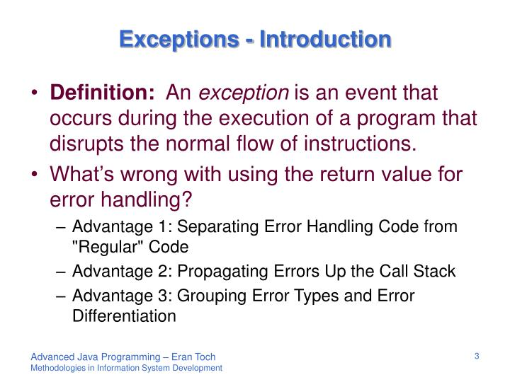 Exceptions - Introduction