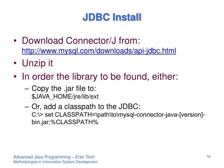 JDBC Install