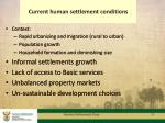current human settlement conditions