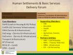 human settlements basic services delivery forum