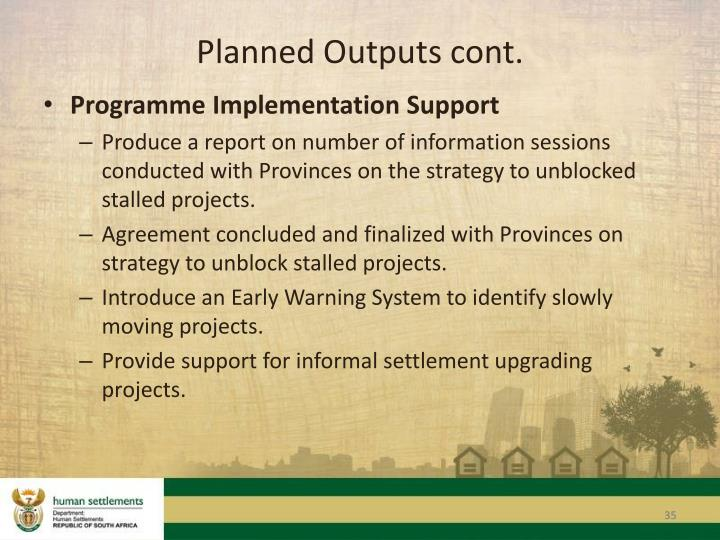 Planned Outputs cont.