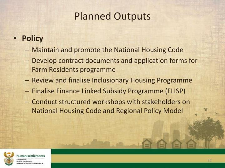 Planned Outputs