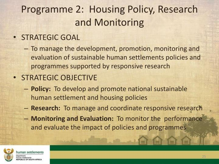 Programme 2:  Housing Policy, Research and Monitoring
