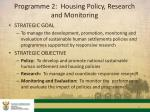 programme 2 housing policy research and monitoring