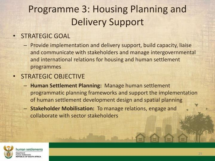 Programme 3: Housing Planning and Delivery Support