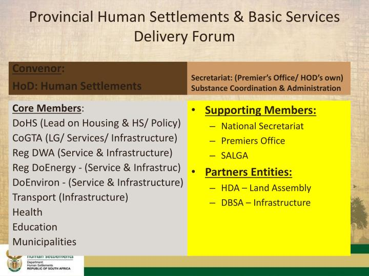 Provincial Human Settlements & Basic Services Delivery Forum