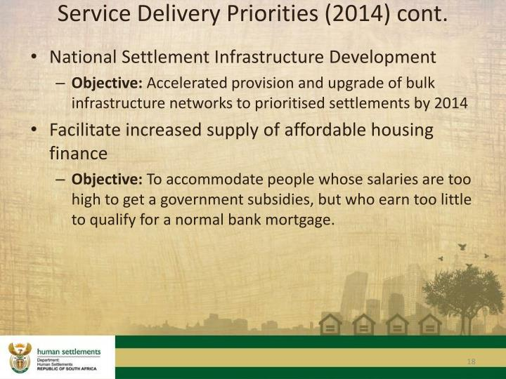 Service Delivery Priorities (2014) cont.