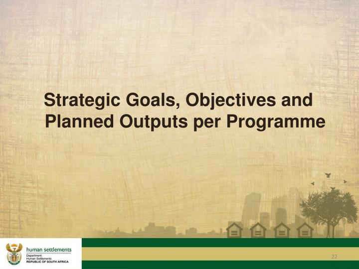 Strategic Goals, Objectives and Planned Outputs per Programme