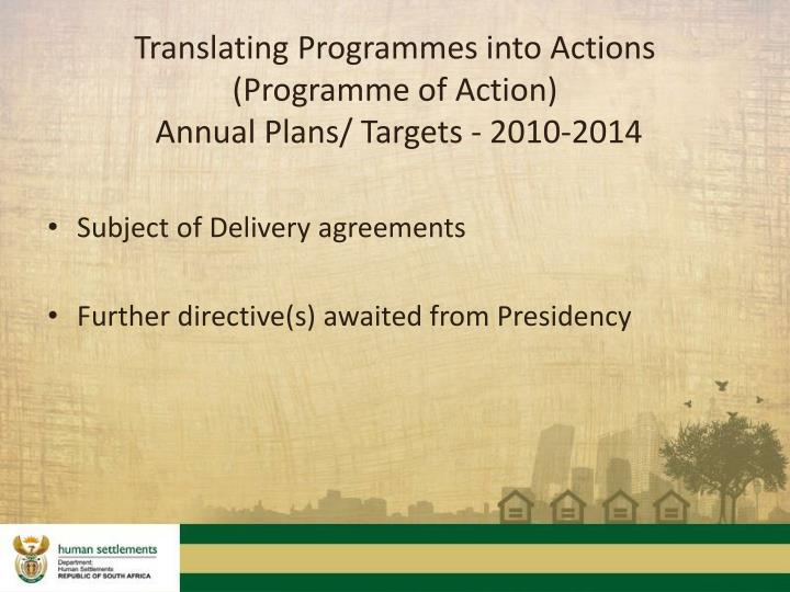 Translating Programmes into Actions