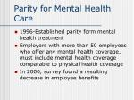 parity for mental health care