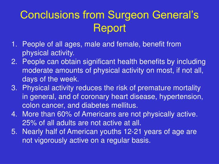Conclusions from Surgeon General's Report