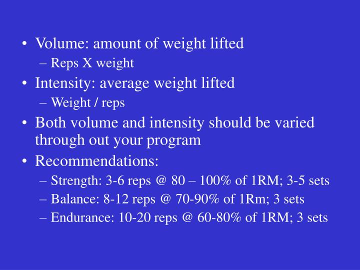 Volume: amount of weight lifted