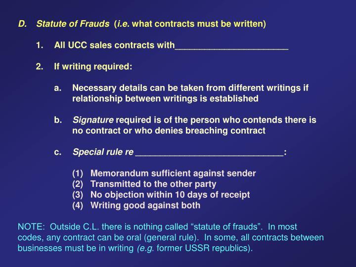 D. Statute of Frauds