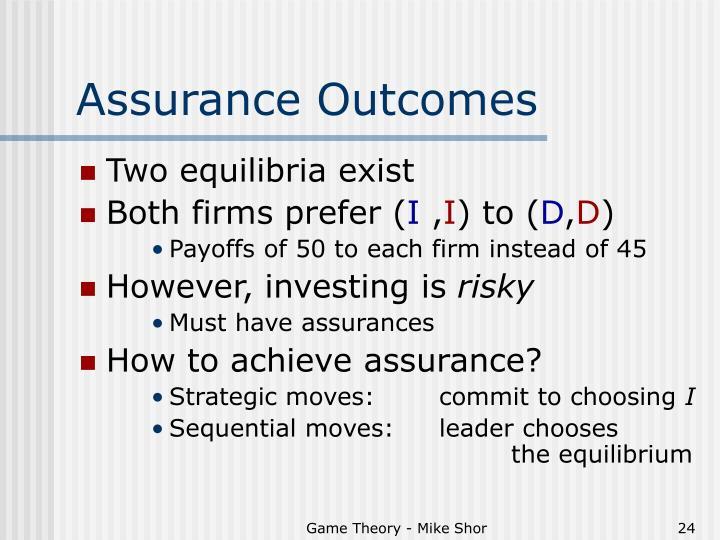 Assurance Outcomes