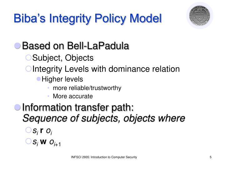 Biba's Integrity Policy Model